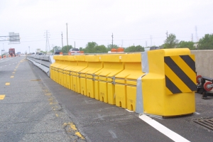Image of plastic highway absorption barricades.